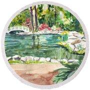 Round Beach Towel featuring the painting Sayen Pond by Clara Sue Beym