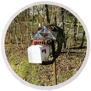 Round Beach Towel featuring the photograph Scary Mailbox 3 by Sherman Perry