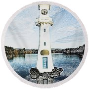 Round Beach Towel featuring the photograph Scott Memorial Roath Park Cardiff 3 by Steve Purnell