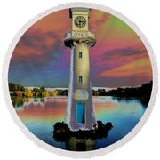 Round Beach Towel featuring the photograph Scott Memorial Roath Park Cardiff 4 by Steve Purnell