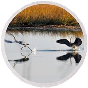 Round Beach Towel featuring the photograph Scram by Kay Lovingood