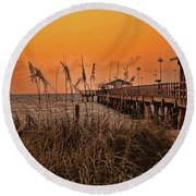 Round Beach Towel featuring the photograph Sea Oats At Dawn by Anne Rodkin