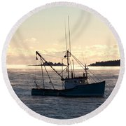 Sea-smoke On The Harbor Round Beach Towel by Brent L Ander