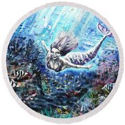 Round Beach Towel featuring the painting Sea Surrender by Shana Rowe Jackson