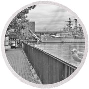 Round Beach Towel featuring the photograph Seagull At The Naval And Military Park by Michael Frank Jr