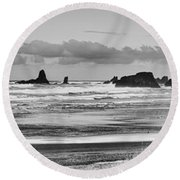 Seaside By The Ocean Round Beach Towel by James Heckt