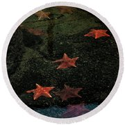 Round Beach Towel featuring the photograph Seastars by Karen Harrison