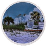 Seat On The Dunes Round Beach Towel
