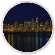 Seattle Moody Blues Round Beach Towel by James Heckt