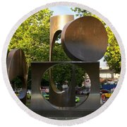 Round Beach Towel featuring the photograph Seattle Sculpture by Chalet Roome-Rigdon
