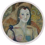 Round Beach Towel featuring the painting Seduction by Avonelle Kelsey