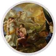 Selene And Endymion Round Beach Towel by Nicolas Poussin