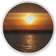 Round Beach Towel featuring the photograph Seneca Lake Sunrise by William Norton