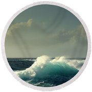 Round Beach Towel featuring the photograph Sennen Surf Seascape by Linsey Williams