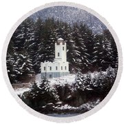 Round Beach Towel featuring the photograph Sentinel Island Lighthouse In The Snow by Myrna Bradshaw