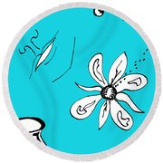 Serenity In Blue Round Beach Towel