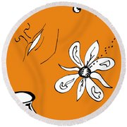 Serenity In Orange Round Beach Towel