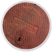 Sewer Cover Round Beach Towel by Bill Owen