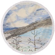 Round Beach Towel featuring the painting Shades Of Nature by Sonali Gangane