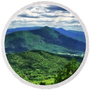 Shadows On The Mountains Round Beach Towel
