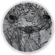 Round Beach Towel featuring the drawing Shango by Gloria Ssali