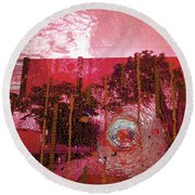 Round Beach Towel featuring the photograph Abstract Shattered Glass Red by Andy Prendy
