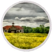 Round Beach Towel featuring the painting Shiloh School by Lynne Jenkins