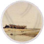 Ship Building  Round Beach Towel