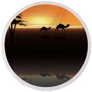 Round Beach Towel featuring the digital art Ships Of The Desert by David Dehner