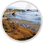 Round Beach Towel featuring the photograph Shores Of Oregon by Will Borden