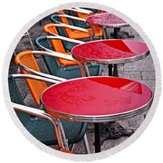Sidewalk Cafe In Paris Round Beach Towel