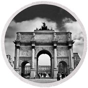 Sightseeing At Louvre Round Beach Towel by Elena Elisseeva