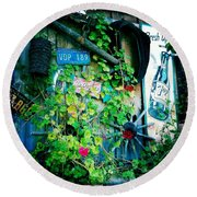 Round Beach Towel featuring the photograph Sign Wall by Nina Prommer