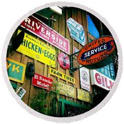 Round Beach Towel featuring the photograph Signs Of A Great Place by Nina Prommer