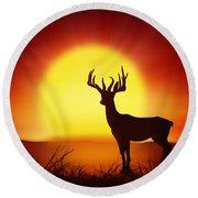 Silhouette Of Deer With Big Sun Round Beach Towel