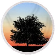 Make People Happy  Square Photograph Of Tree Silhouette Against A Colorful Summer Sky Round Beach Towel