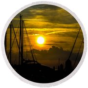 Silhouettes At The Marina Round Beach Towel