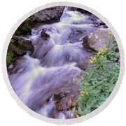 Silky Stream Round Beach Towel by Zawhaus Photography