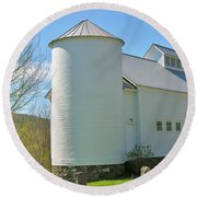 Round Beach Towel featuring the photograph Vermont Silo And Barn  by Sherman Perry