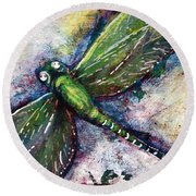 Silver Dragonfly Round Beach Towel