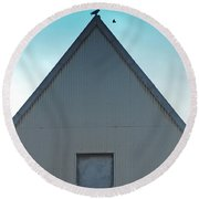 Round Beach Towel featuring the photograph Sitting On The Peak by Kathleen Grace