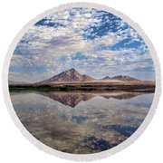 Round Beach Towel featuring the photograph Skies Illusion by Tammy Espino