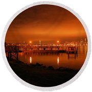 Skies On Fire Round Beach Towel