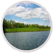 Round Beach Towel featuring the photograph Sky And Water Almost Meet by Sherman Perry