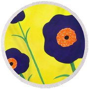 Round Beach Towel featuring the painting Sky High Flowers by Alys Caviness-Gober