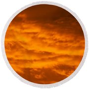 Sky Of Fire Round Beach Towel