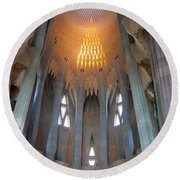 Skylight At Gaudi Cathedral Round Beach Towel
