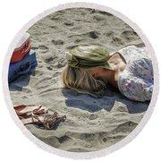Sleeping Beauty Round Beach Towel