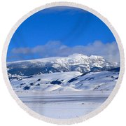 Round Beach Towel featuring the photograph Sleeping Indian by Eric Tressler