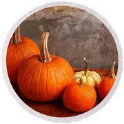 Round Beach Towel featuring the photograph Small Decorative Pumpkins by Verena Matthew